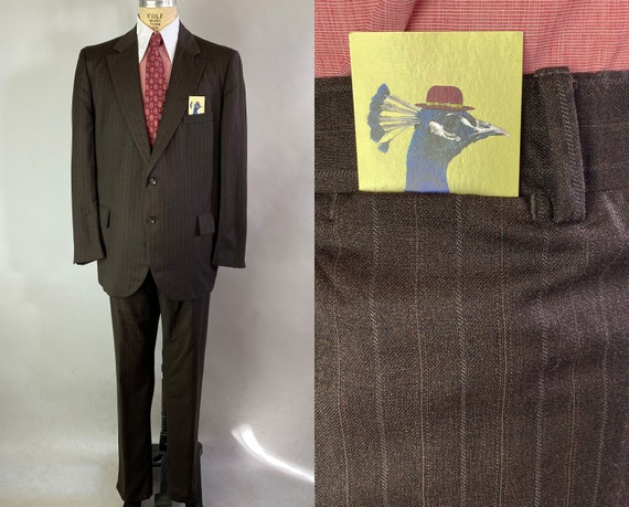 1950s Mad Men Suit | Vintage 50s Dark Chocolate Brown w/ White Shadow & Pinstripe Wool Jacket and Trousers Pants | Size 46/48 Extra Large XL