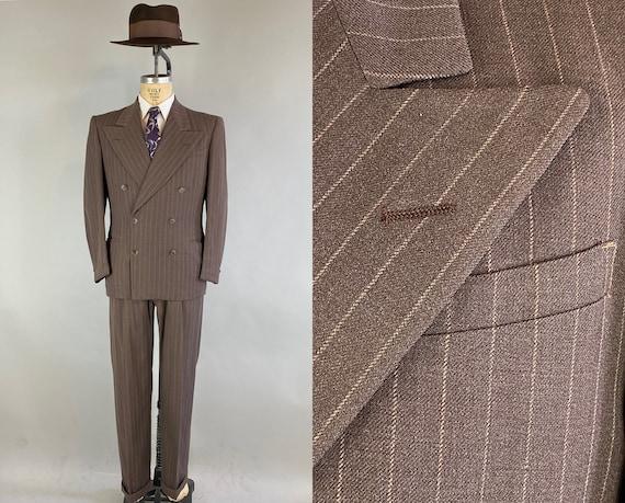 1940s Gentlemanly Pursuits Suit | Vintage 40s Walnut Brown w/Mocha Pinstripes Wool Two Piece Peak Lapels Jacket + Trousers | Size 40 Medium