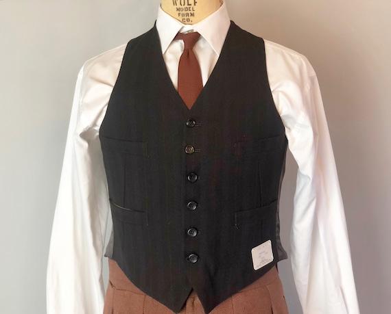 1940s Mens Deadstock Vest | Vintage 40s Mens Brown w/ Woven Red Wine & Cobalt Blue Metallic Stripes Wool Waistcoat NOS NWT | Size 38 Medium