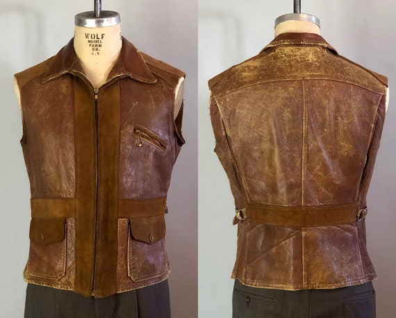 1930s Mens Belted Back Jacket | Incredible Statement Piece Vintage 30s Caramel Light Brown Suede Leather Motorcycle Vest Ball&Chain | Medium