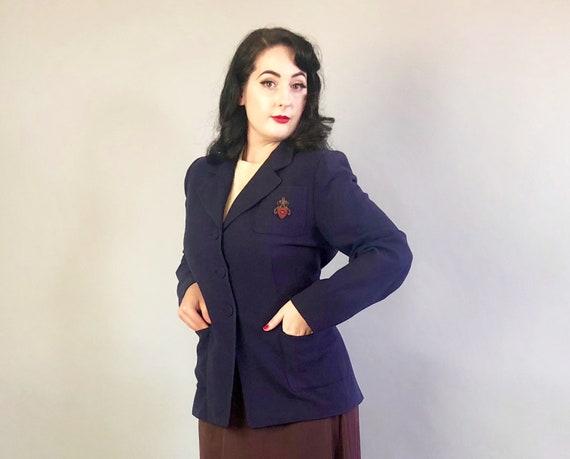 1920s 'I. Magnin' Collegiate Blazer | Vintage 20s Oxford Blue Wool Sport Coat Menswear Inspired Jacket with Gold Bullion Crest | Medium