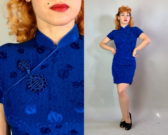 1950s Cobalt Blue Cheongsam | Vintage 50s Traditional Chinese Qipoa Cocktail Dress in Silk Floral Brocade | Small