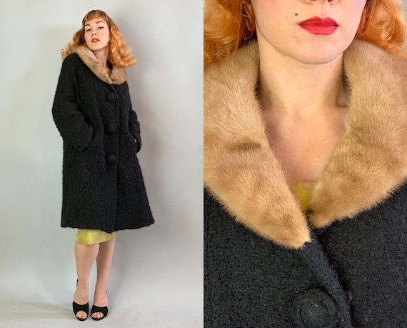 1950s Overcoat with Mink Collar | Vintage 50s Black Soft Roomy Textured Wool Jacket with Luxurious Caramel Brown Mink Fur & Pockets! | Large