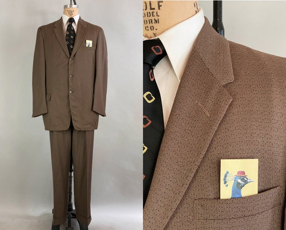 1950s Fashionable Frank Mens Suit | Vintage 50s Taupe Brown w/Black Watermelon Seed Flecks Wool Jacket and Trousers | Size 46 Extra Large XL