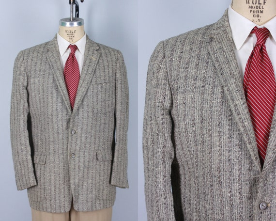 "1950s Mens Grey Sport Coat | Vintage 50s Variegated Gray Wool Tweed Jacket Blazer with Patch Pockets by ""Martin's"" 