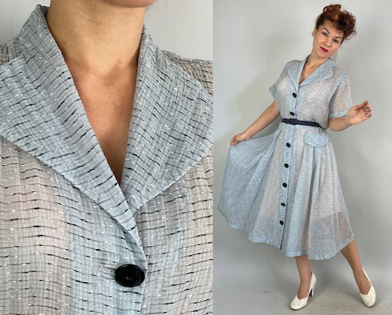 1940s Light as Air Dress   Vintage 40s Sheer Sky Blue Seersucker Voile w/Black and White Static Stripe Button Front Frock   Extra Large XL