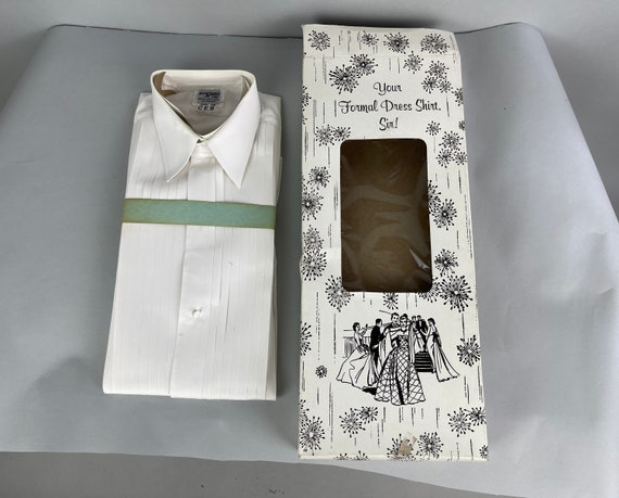 1980s Mens Deadstock Tuxedo Shirt   Vintage 80s Button Up White Cotton Oxford with Knife Pleats in Original Box NWT NOS Dated 1986