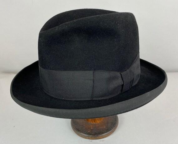1940s Handsome Homburg Hat | Vintage 40s Black Fur Felt Mens Fedora with Grosgrain Ribbon Band  | Size 7&1/4 Large