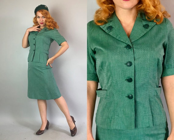 1940s Girl Scouts Uniform | Vintage 40s Green and White Cotton Whipcord Scout Leader Ladies Suit Official Jacket & Skirt Suit Set | Small