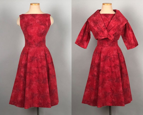 Vintage 1950s Dress Set | 50s Novelty Feather-Print Poppy Red Silk-Blend Bateau Neck Party Dress w/ Matching Bolero Jacket | Extra Small XS