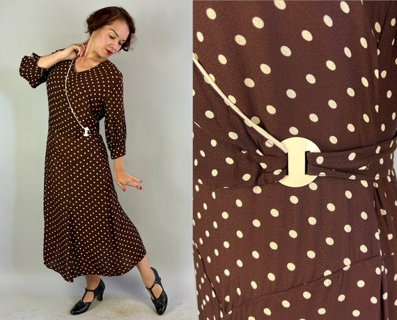 1930s Delicious Deco Dress | Vintage 30s Brown & White Polka Dot Rayon Crepe Day Frock with Asymmetric Sash and Belt | Large Extra Large XL