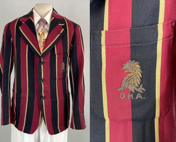 1930s University Sea Lion Blazer | Vintage 30s Magenta Wool with Navy Blue and Cream Vertical Stripes Collegiate Jacket | Size 34/36 Small