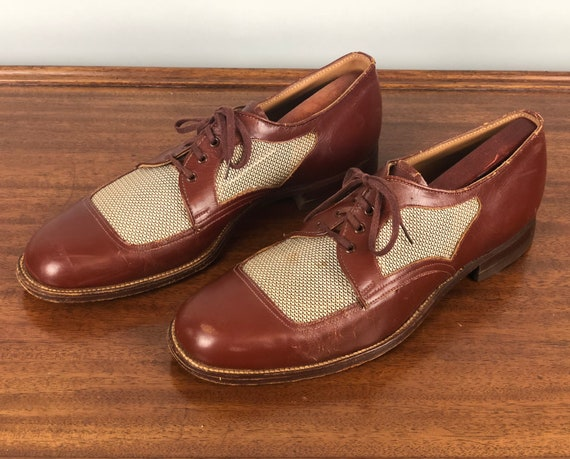 b51885d453d89 1940s Ventilated Summer Shoes | Vintage 40s Mahogany Brown Leather and  White w/Brown Nylon Apron Toe Lace Up Men'sOxfords | Size 10