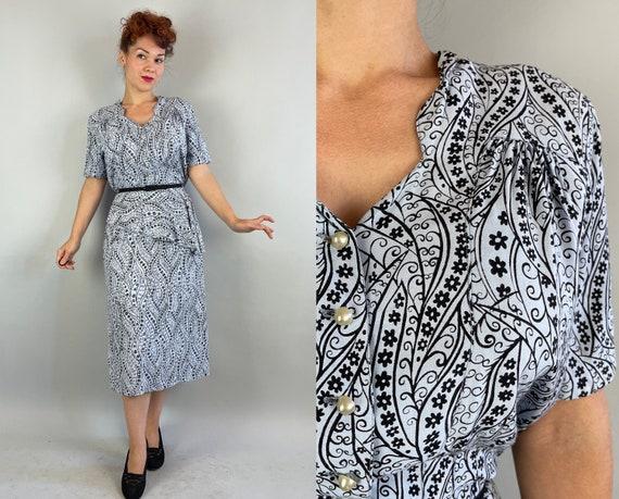 1940s Valerie's Vining Victory Dress | Vintage 40s Pale Periwinkle Black Floral Print Cotton Frock with Asymmetric Half Peplum | Large