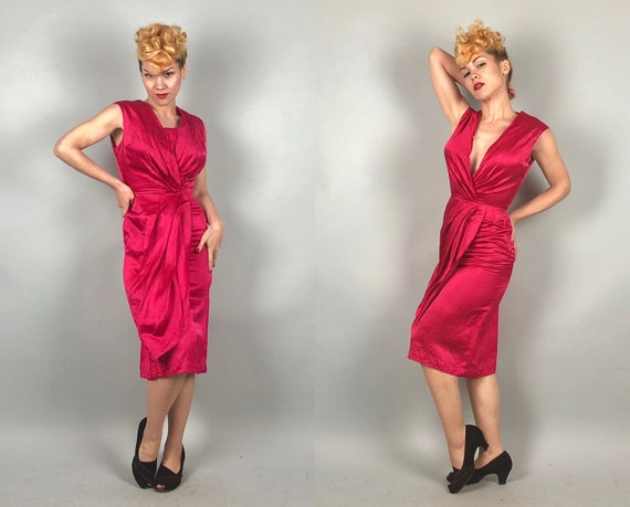 Vintage 1950s Dress | 50s Hot Pink Fuchsia Silk Satin Wiggle Bombshell Cocktail Evening Dress w/Optional Modesty Panel Viva | Extra Small XS