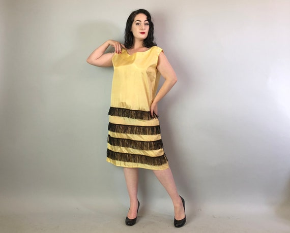 1960s Fringe Trim Party Dress | Vintage 60s does 20s Honey Yellow Taffeta Shift with Black Stripes Queen Bee Frock Volup | Extra Large XL