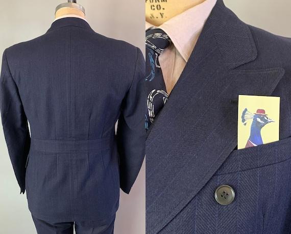 1930s Three Piece Belted Back Suit | Vintage 30s Midnight Blue Electric Blue Pinstripe Wool Peak Lapel Jacket Trousers Vest | Size 38 Medium