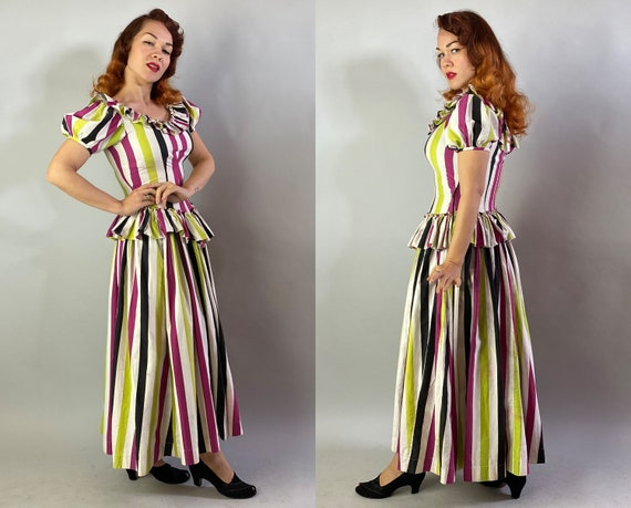 1940s Big Top Ball Gown   Vintage 40s Cotton Dres… - image 9