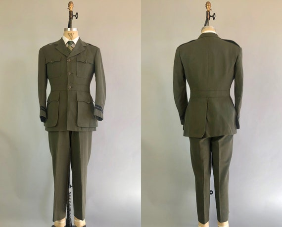 1950s Mens Belted Back Uniform | Vintage Early 50s Korean War Forest Green Navy USN Officer Wool Suit Dated 1952! | Size 40 Medium
