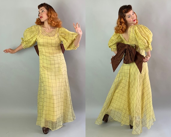 1930s Country Sunshine Gown | Vintage 30s Yellow Organza Dress w/Brown Windowpane Plaid Pattern Lg Satin Bow & Dramatic Puff Sleeves | Small