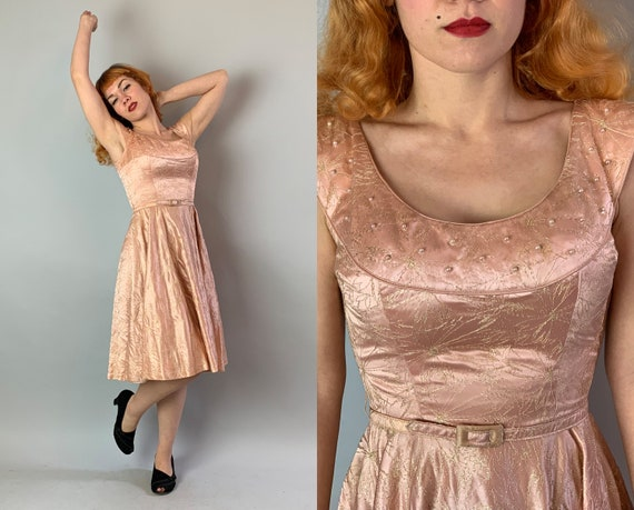 1940s Pearl Party Dress | Vintage 40s Day to Night Blushing Pink Silk Satin Frock w/Golden Floral Pattern, Full Skirt, and Self-Belt | Small