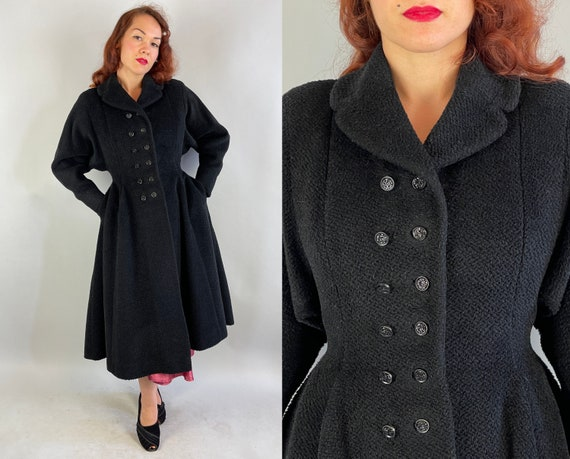 """1950s Dovima's Divine """"New Look"""" Coat 