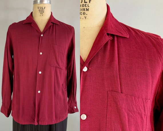 1950s Heather Burgundy Mens Shirt | Vintage 50s 'Arrow' Red Rayon Button Up Camp Shirt with Patch Pocket and Top Loop | Medium