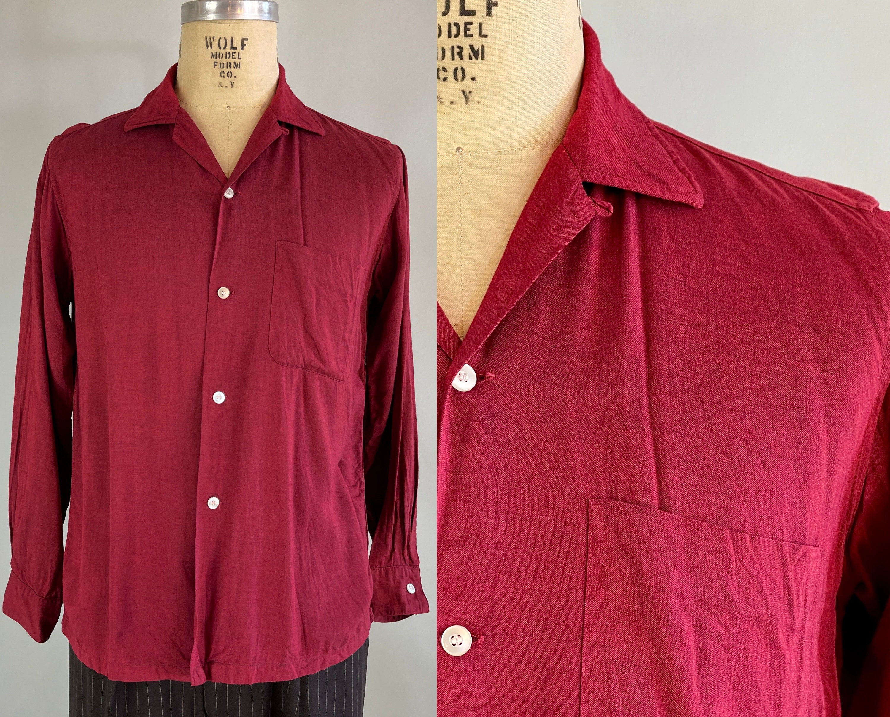 1950s Men's Ties, Bow Ties – Vintage, Skinny, Knit 1950S Heather Burgundy Mens Shirt  Vintage 50S Arrow Red Rayon Button Up Camp With Patch Pocket  Top Loop Medium $95.00 AT vintagedancer.com