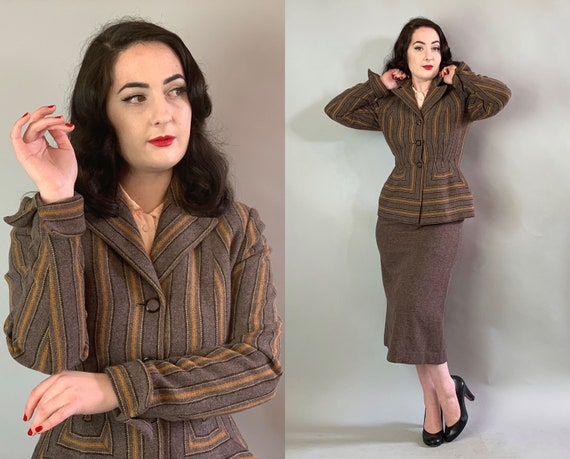"1940s Sophisticated Siren Suit | Vintage 40s ""Carlene"" Taupe Brown Wool Two Piece Set w/Yellow Orange & Black Woven Stripe Pattern 