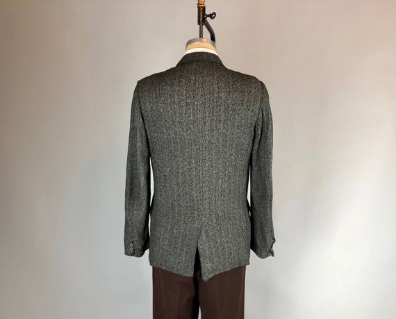Vintage Florenzi 50/'s Style Men Black ROCKABILLY Sport Coat DB Double Breasted Jacket Hollywood Salt Pepper ATOMIC Fleck Blazer 38