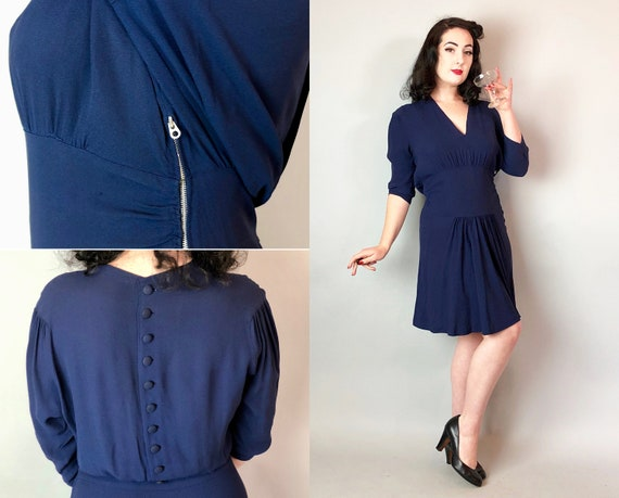 1930s Draped Cocktail Dress | Vintage 30s Navy Blue Knee Length Rayon Crepe w/ V-Neckline, Self Button Back & Teardrop Metal Zipper | Medium