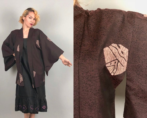 Vintage 1950s 1960s Kimono | 50s 60s Black, Cranberry Red, and Palest Petal Pink Silk and Rayon Jacquard Haori Jacket Robe | Large-ish