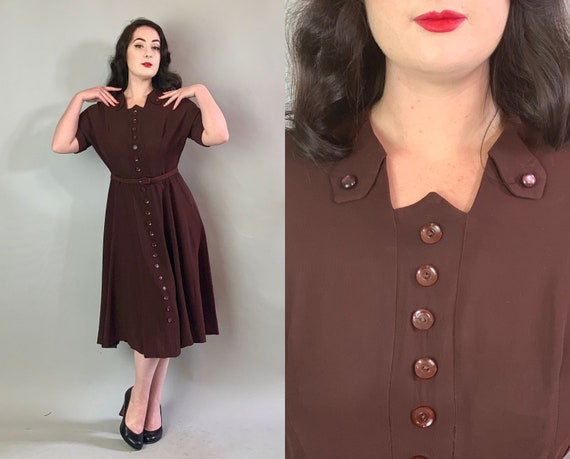 1940s Flirty Button Front Frock | Vintage 40s Plum Wine Brown Rayon Crepe Day Party Dress with Full Skirt and Faux Shirt Dress Front | Large