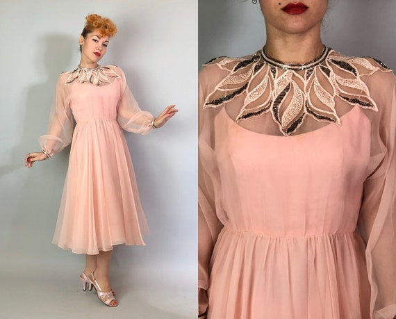 1970s Dancing Queen Dress | Vintage 70s Blush Pink Chiffon Overlay Disco Dress with Balloon Sleeves and Leafy Beaded Yoke & Cuffs | Medium