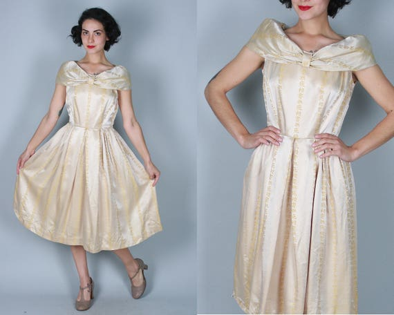 "1950s Champagne Calligraphy Characters Dress | Vintage 50s Beige White Satin Cocktail Party Frock with Asian Figures by ""Lady Alice"" 