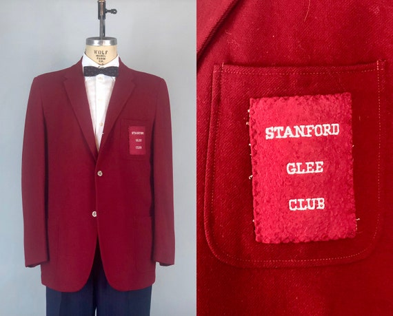 "Vintage 1950s Mens Blazer | 50s Crimson Red Wool Single Breast Sport Coat for ""Stanford Glee Club"" School Collegiate Jacket 