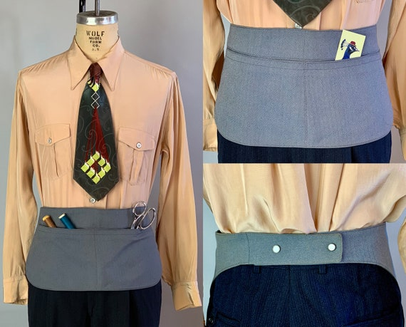 1940s Tailor's Apron   Vintage 40s Grey Herringbone and Granite Cloth Wool Adjustable Waist Belt with Pockets for Scissors & Thread