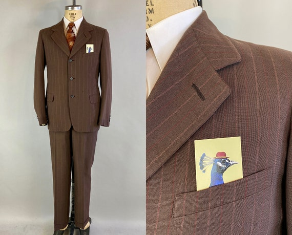 1940s Ambitious Adam Suit | Vintage 40s Dark Taupe Chocolate Brown w/Red & White Stripes Wool Two Piece Jacket and Trousers | Size 39 Medium