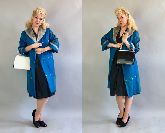 Vintage 1950s Purse | 50s Mid Century Convertible Matte White Patent Black Leather & Blue Faille Three in One Handbag w/Clear Lucite Handle