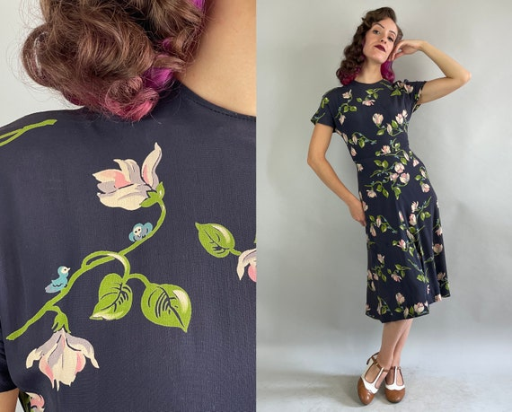 1940s For the Birds Dress   Vintage 40s Navy Blue Pink White Grey and Green Flower and Bluebird Rayon Crepe Day Frock   Extra Small XS