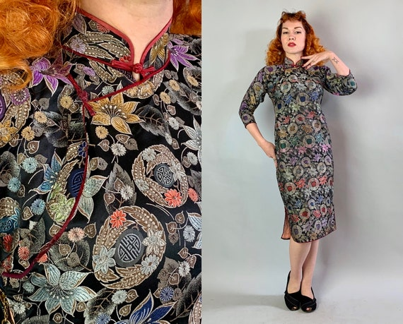 1930s Floral Silk Brocade Cheongsam | Vintage 30s Colorful Black & Gold Chinese Symbol QiPao Dress with Lipstick Red Piping Trim | Small