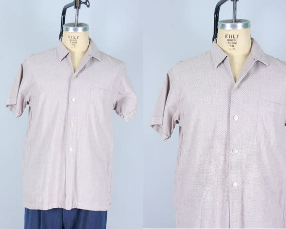 """1950s Men's Casual Shirt   Vintage 50s Short Sleeved Square Cut Top Loop Light Brown and White """"Custom Tailored"""" Cotton Shirt   Medium"""
