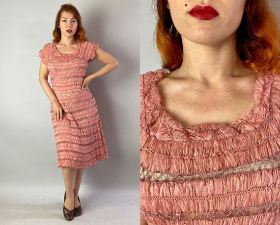 1940s Pretty in Pink Cocktail Dress | 40s Rose Pet