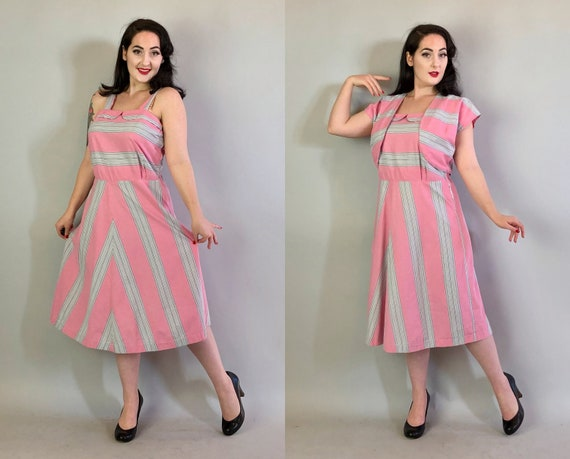 "1940s Day Dress Set | Vintage 40s Peony Pink and Dove Grey/Gray Cotton Dress with Bolero Jacket w/Peter Pan Collar by ""Brentwood"" 