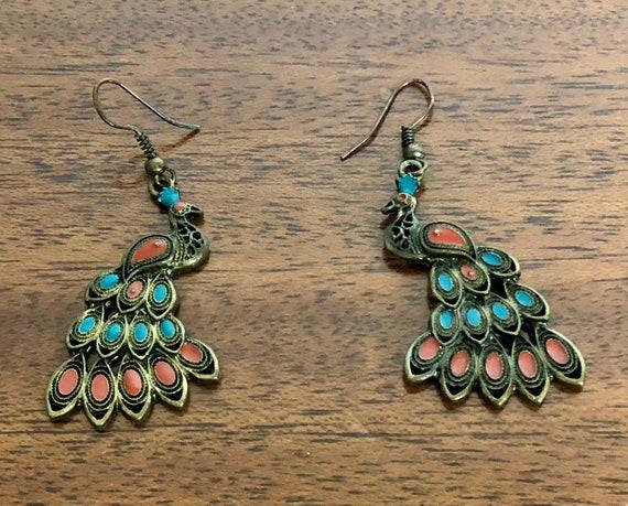 Vintage 1960s 1970s Earrings | 60s 70s Bohemian Chic Bronze Metal Peacock Pierced Ear Jewelry w/Turquoise & Brick Red Enamel Details Boho