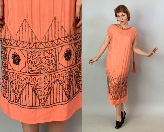 1920s Beaded Beauty Dress | Vintage 20s Coral Pink Silk Evening Cocktail Flapper Frock with Art Deco Beading and Fringe Sash Ties | Large