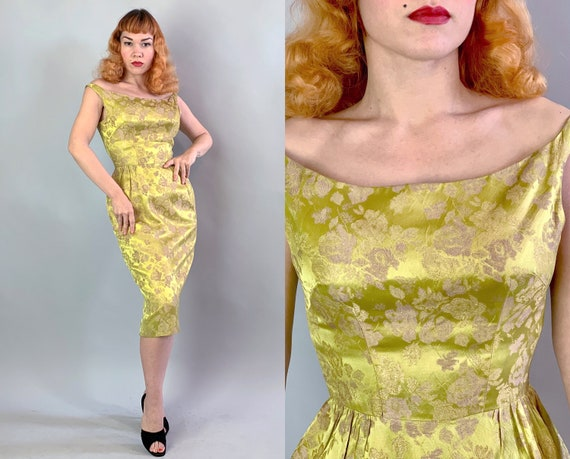 1950s Bombshell Cocktail Dress | Vintage 50s Shimmery Chartreuse and Rose Gold Floral Silk Brocade Evening Party Frock | XS Extra Small