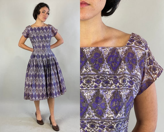 1950s Harlequin Hannah Dress | Vintage 50s Purple White and Grey Acetate Fit and Flare Frock with Belt & Built in Crinoline | Extra Small XS