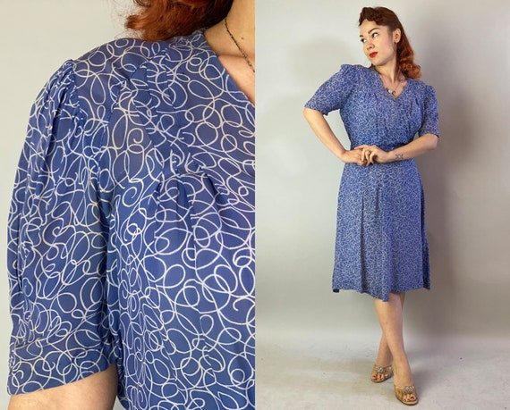 1930s Romantic Rita Garden Party Frock   Vintage 30s Slate Blue with White Swirls Pattern Semi-Sheer Rayon Day Dress with Full Skirt   Large