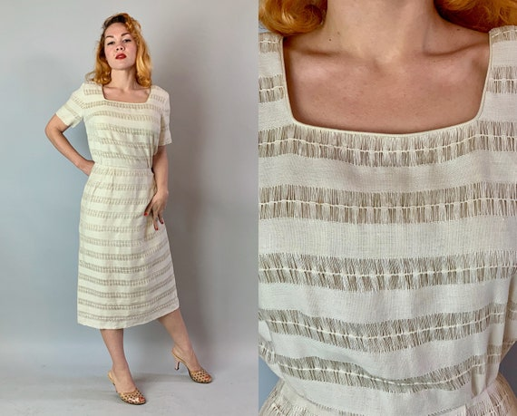 1950s Summery Linen Dress | Vintage 50s Cream White Day Dress with Sheer Horizontal Stripes, Square Neckline, and Short Sleeves | Large